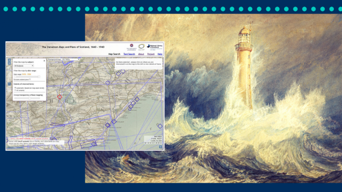 "Graphic mashup featuring screenshot from the Stevensons' maps website and detail of J. M W. Turner's watercolour, ""Bell Rock Lighthouse"" (1819)."