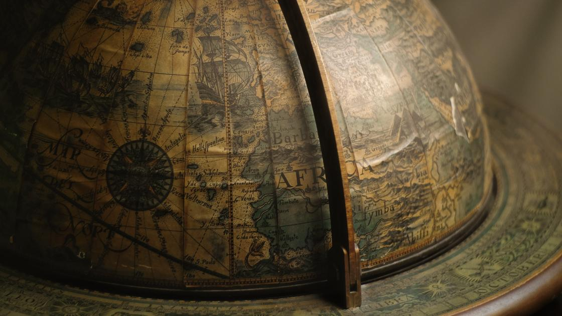 Detail of an antique globe