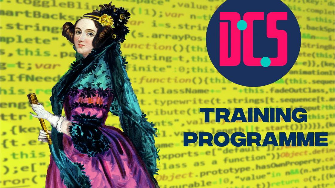 Ada Lovelace portrait with CDCS colours on a coding background
