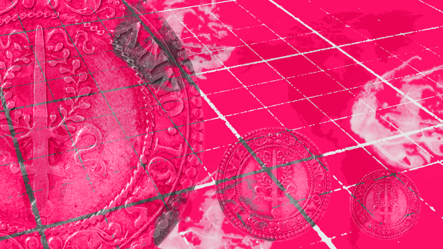 graphic showing coins on a pink background