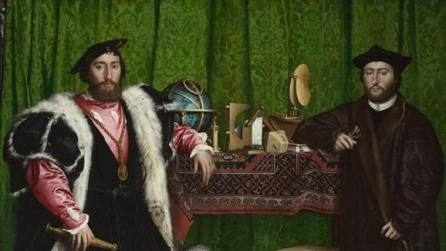 Holbein painting: renaissance, two ambassadors stand at a table