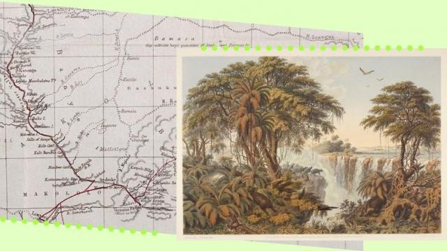 Graphic depicting a historical map and a sketch of Victoria Falls, Zambia