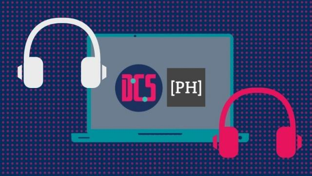 Headphones, laptop, CDCS logo