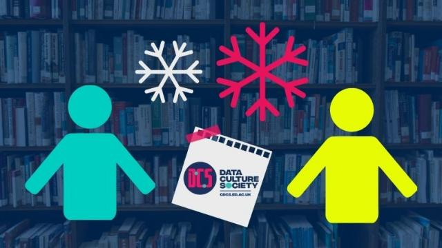 Graphic of two people, snowflakes and CDCS logo