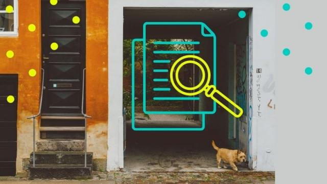 Graphic mashup of dog in street with magnifying glass logo